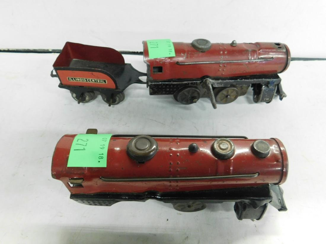 3 Marx Wind up Tin Train Engines - 3