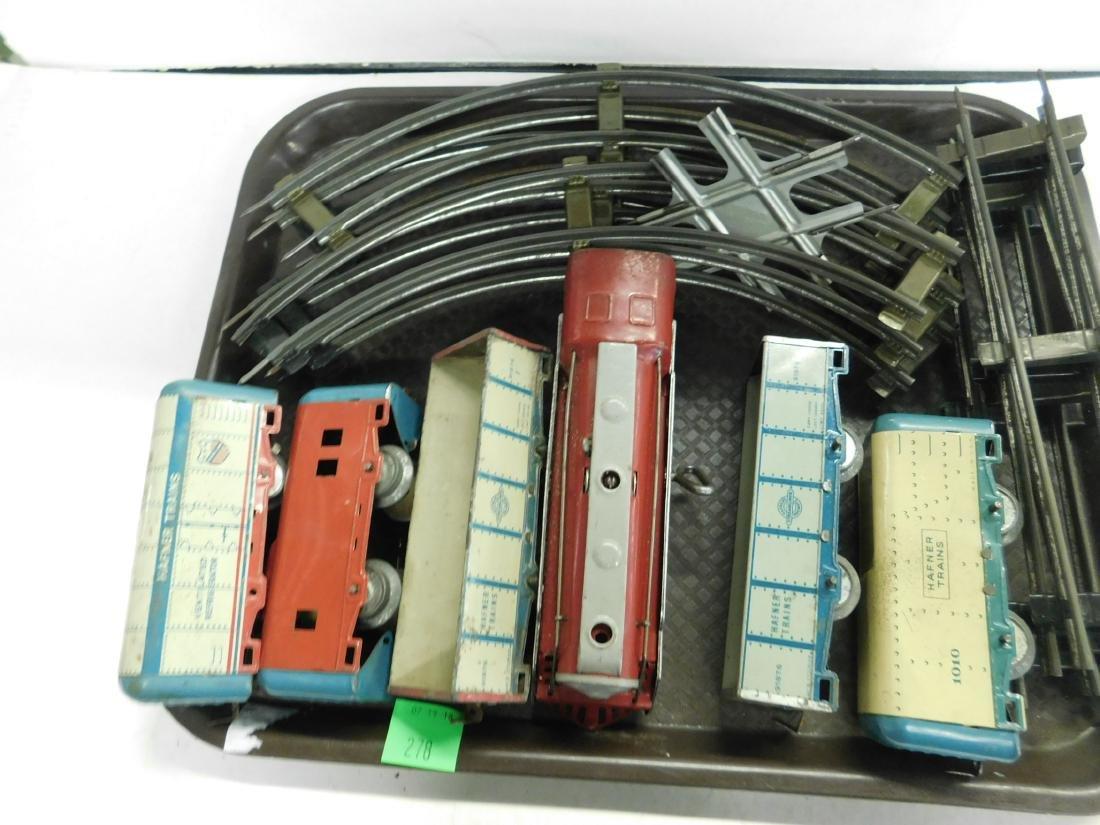 Vintage Hafner Tin Wind Up Train Set w/Track - 2