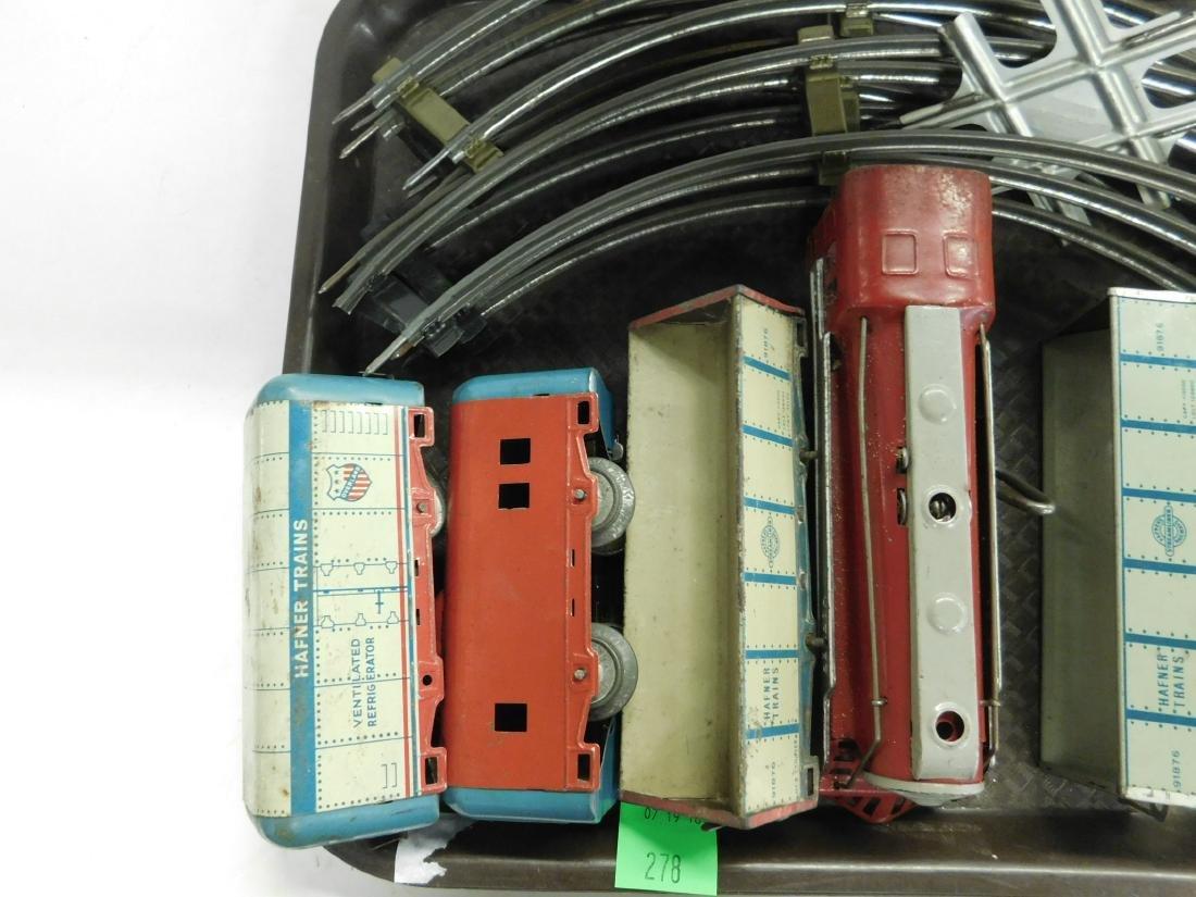 Vintage Hafner Tin Wind Up Train Set w/Track - 3
