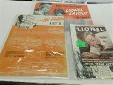 4 Vintage Lionel AccessoriesPlanning Books Sheet