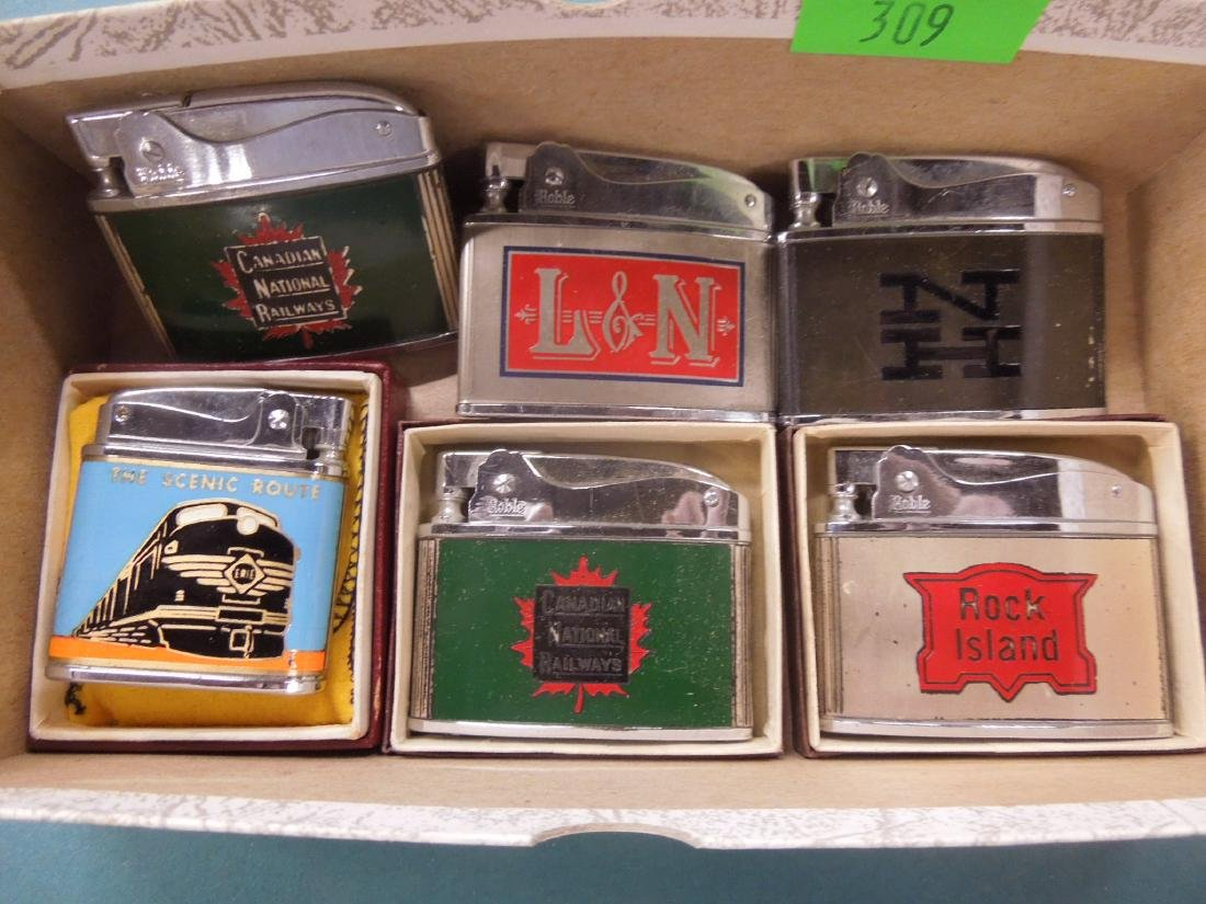 6 Vintage Railroad Lighters