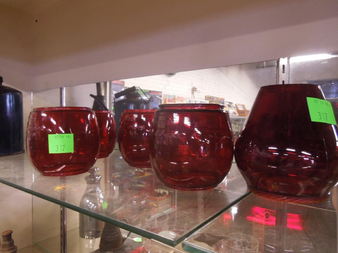 5 Red Lantern Globes