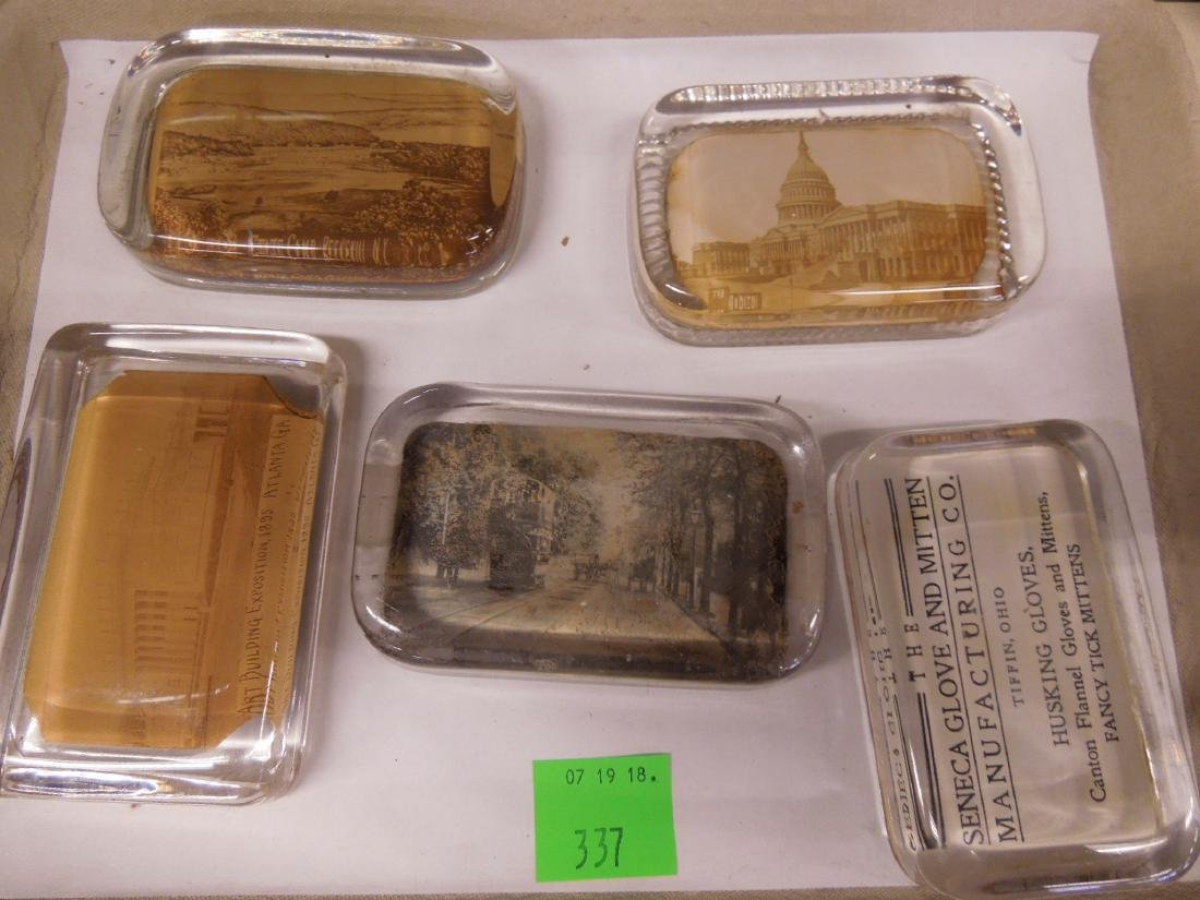 5 Glass Photo Paperweights, Trolley & Other