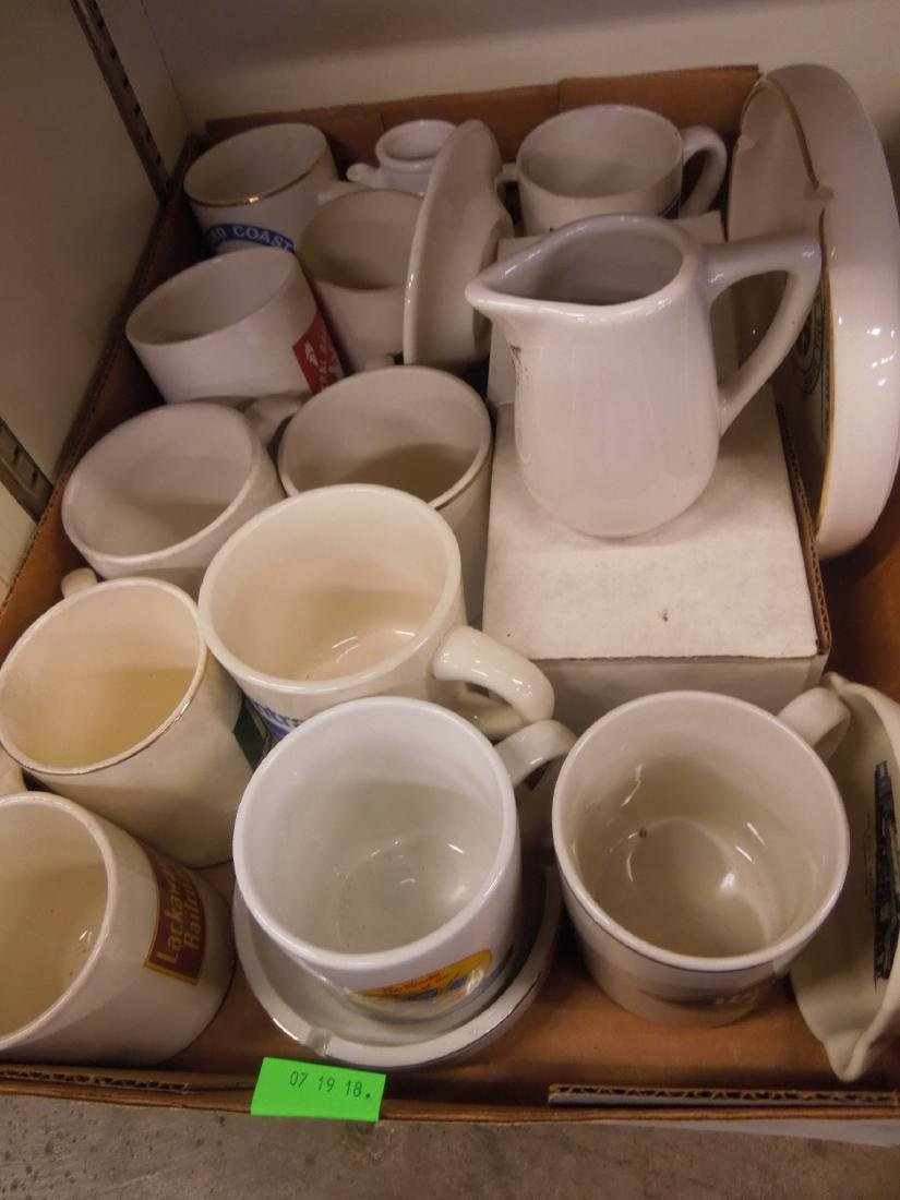 Assorted Railroad Porcelain Mugs & Ashtrays