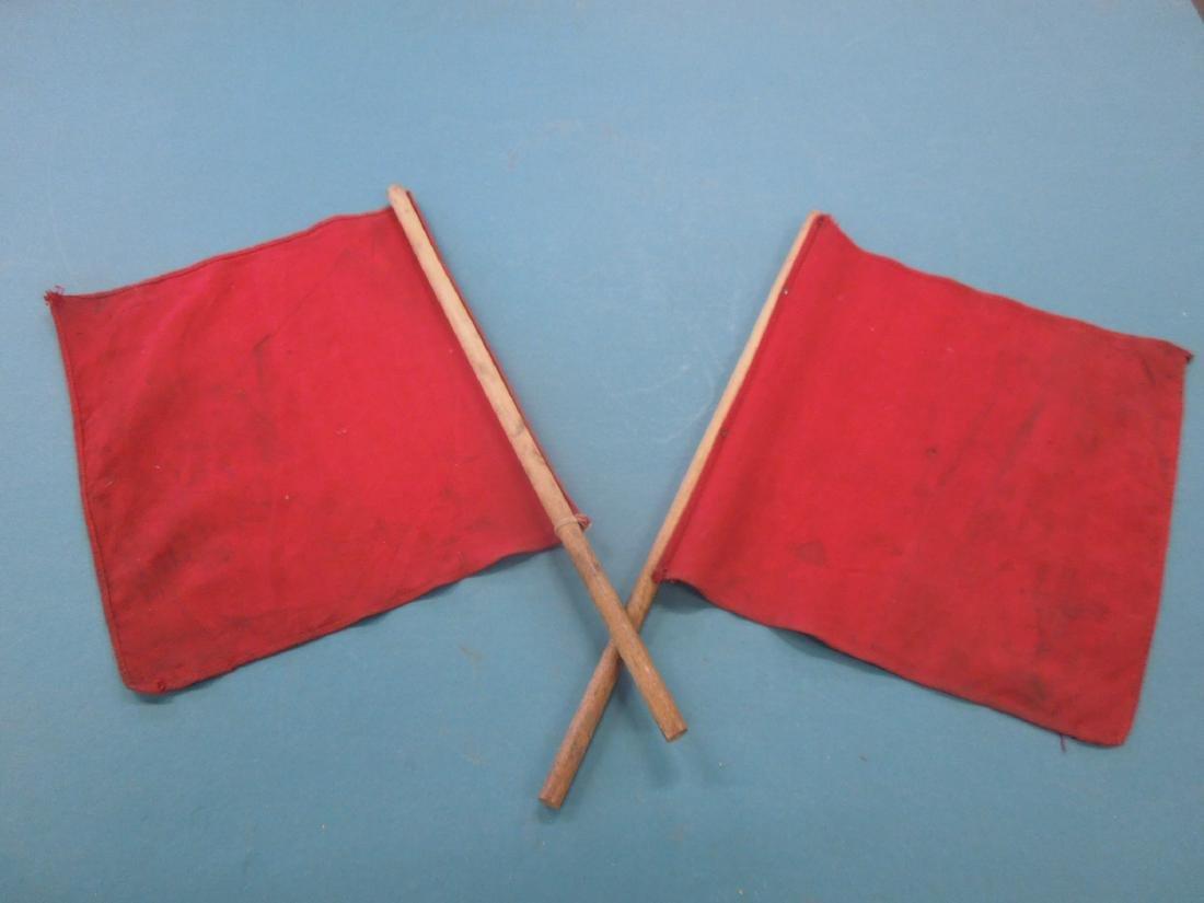 Pr Red Cloth Railroad Signal Flags