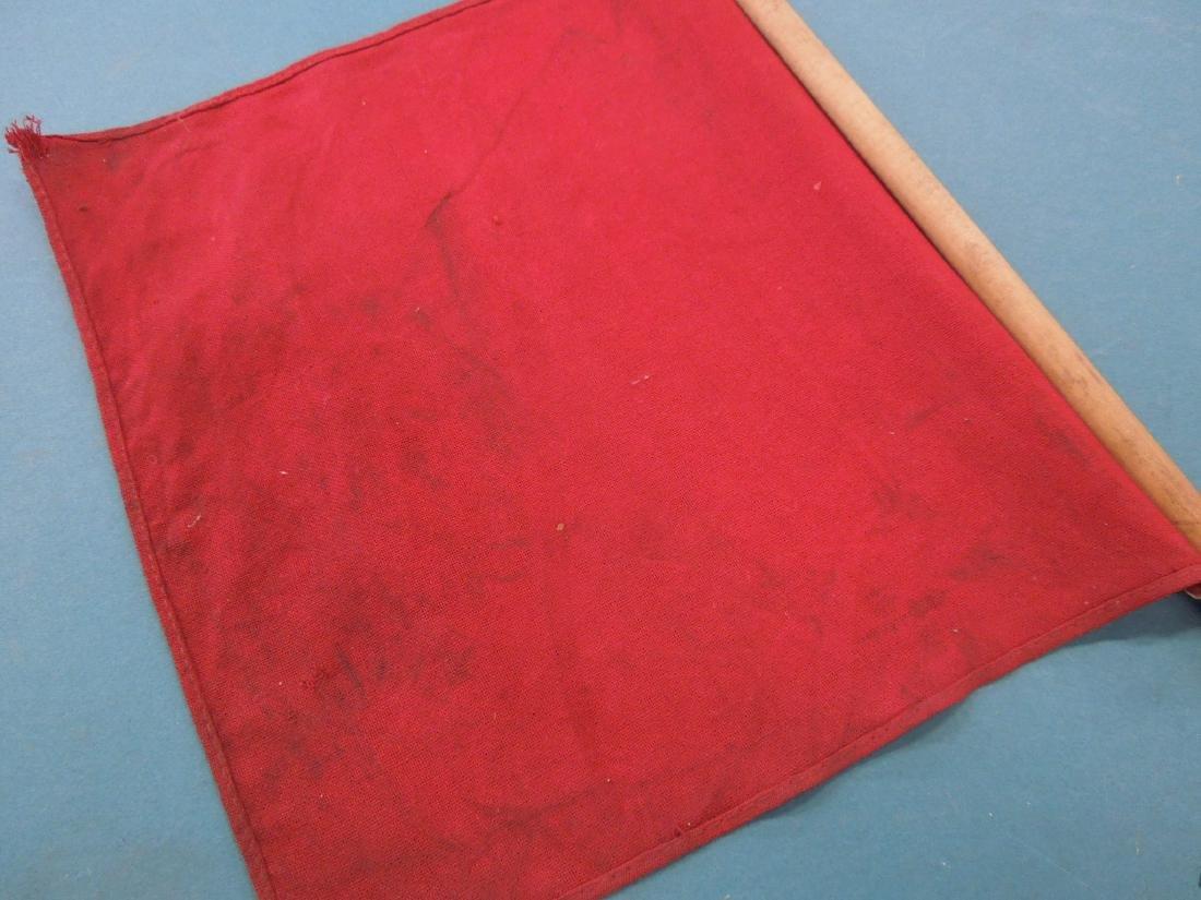Pr Red Cloth Railroad Signal Flags - 4