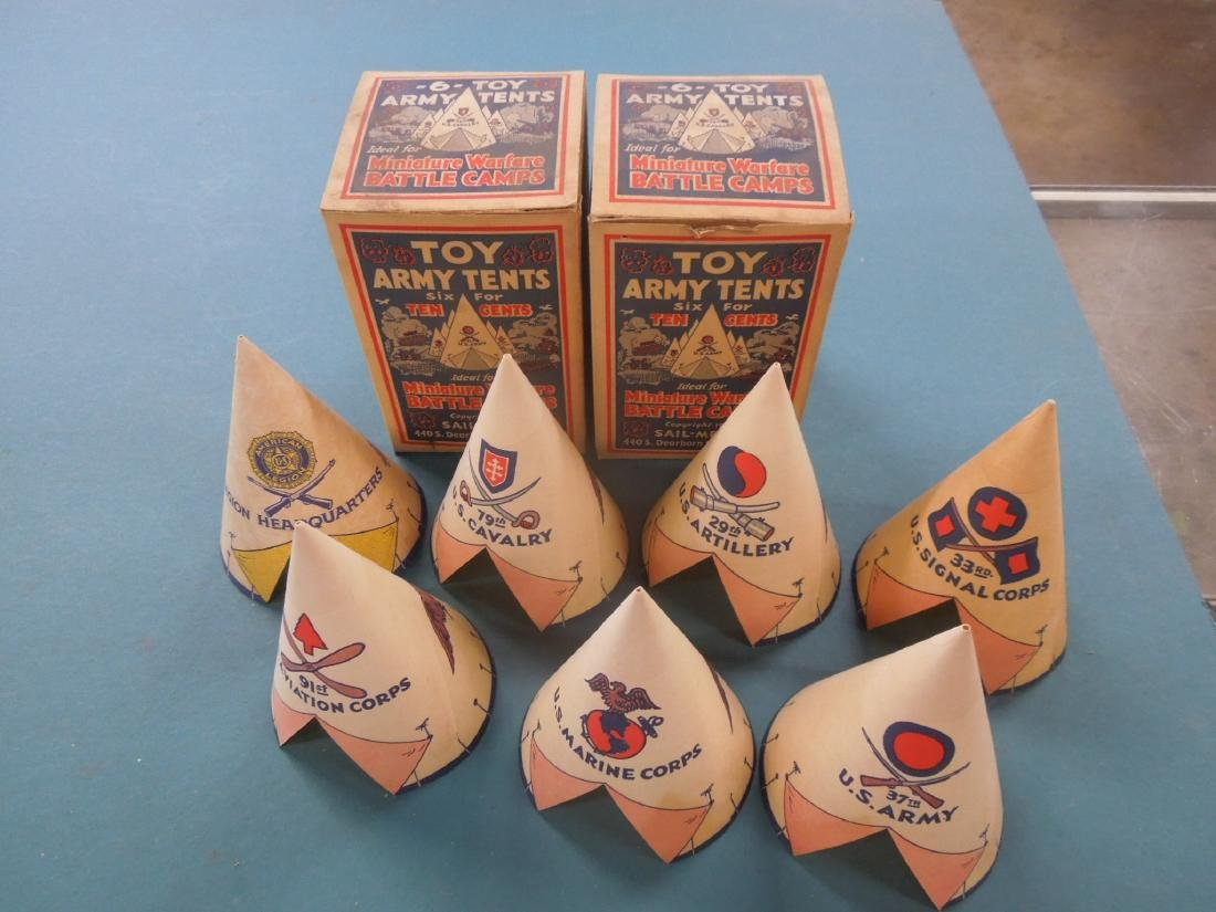 2 Boxes Rare Vintage Toy Army Tents