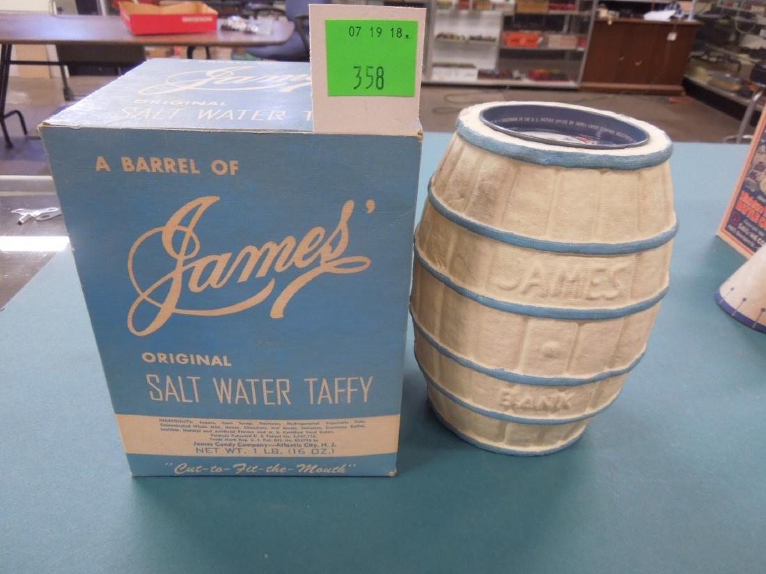 2 Vintage James Salt Water Taffy Banks