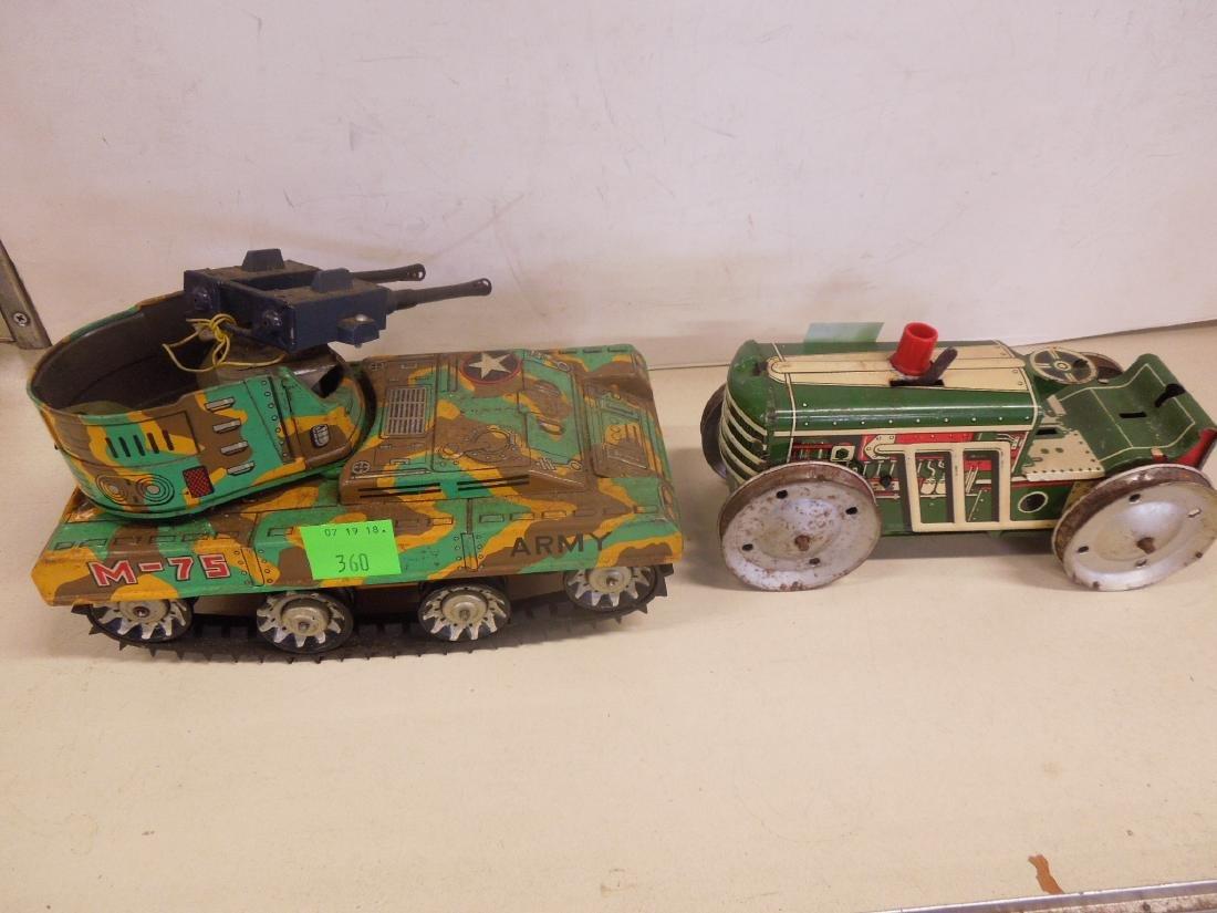 2 Vintage Tin Litho Toy Vehicles