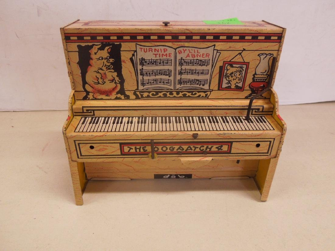 Vintage Tin Litho Wind-up Toy Piano