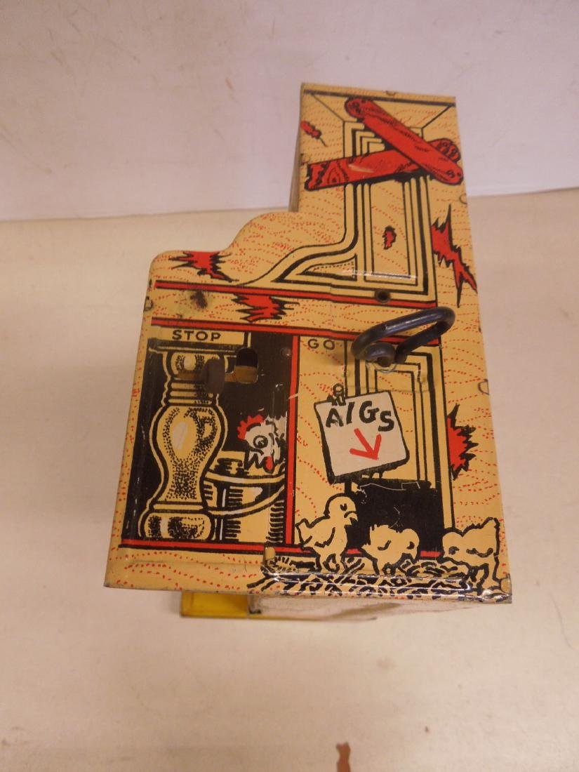 Vintage Tin Litho Wind-up Toy Piano - 5