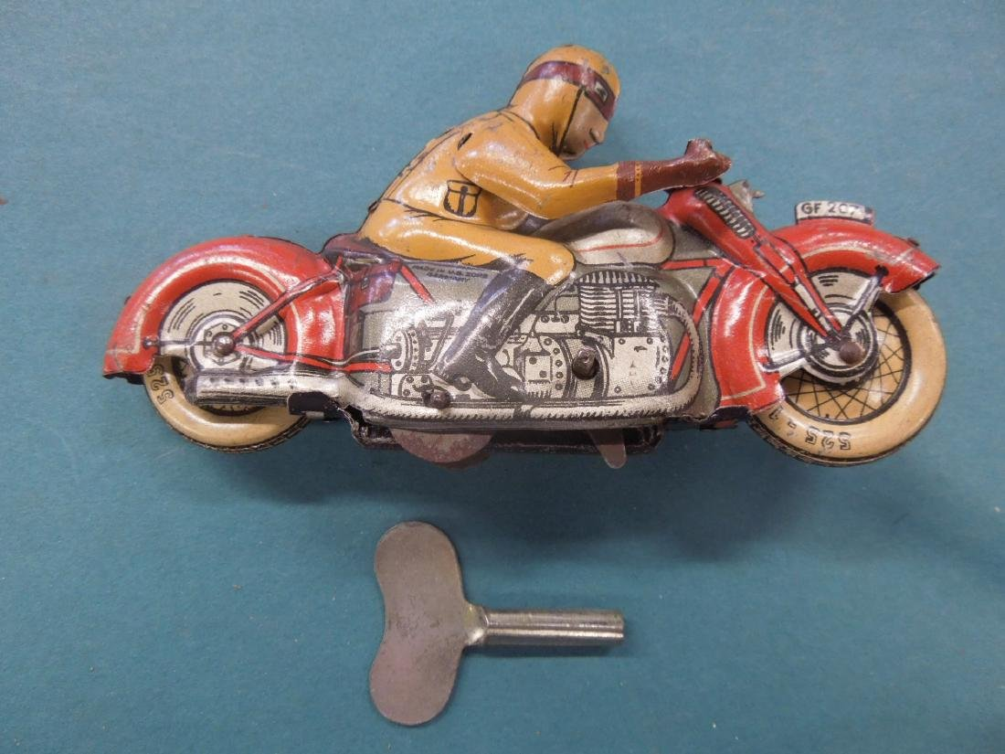 Vintage Tin Litho Wind-up Motorcycle
