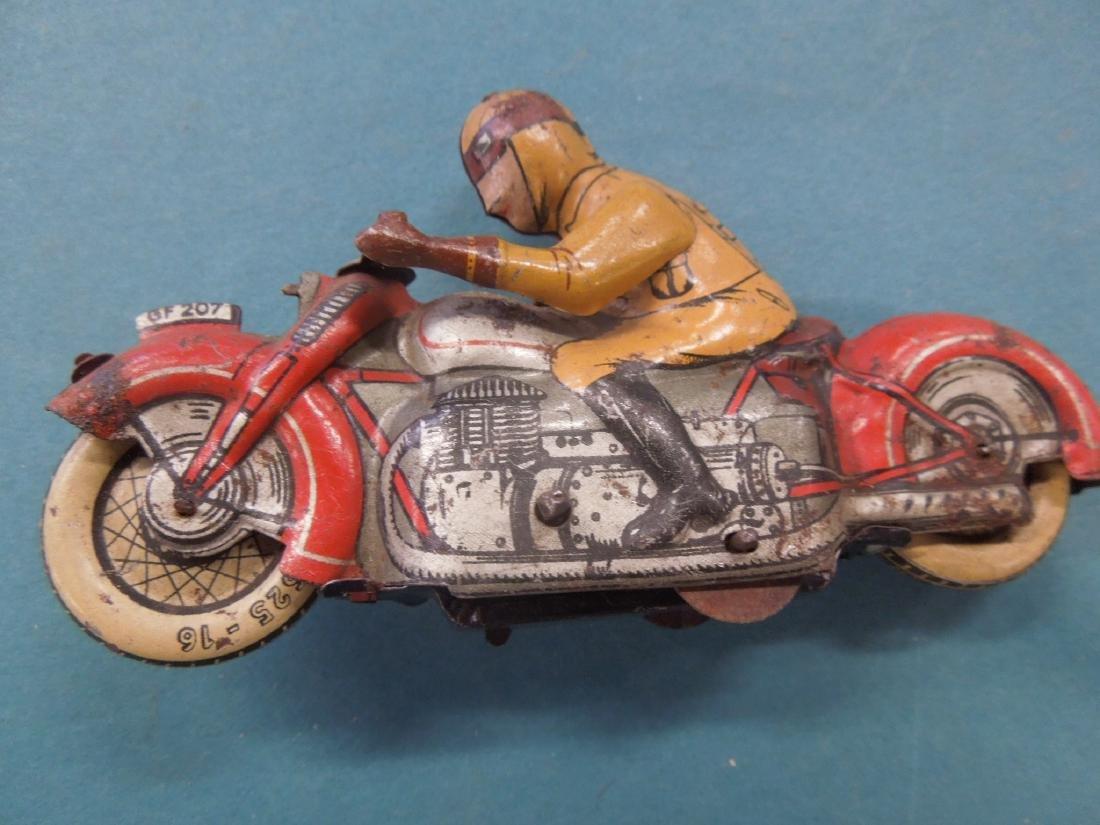 Vintage Tin Litho Wind-up Motorcycle - 2