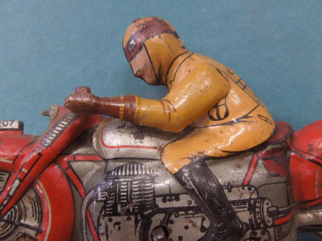 Vintage Tin Litho Wind-up Motorcycle - 4