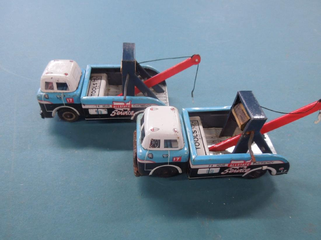 2 Vintage Tin Friction Tow Truck