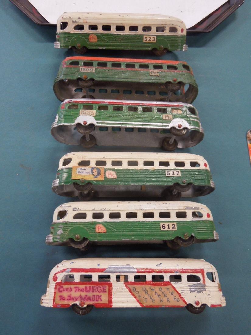 6 Vintage Tin Greyhound Buses