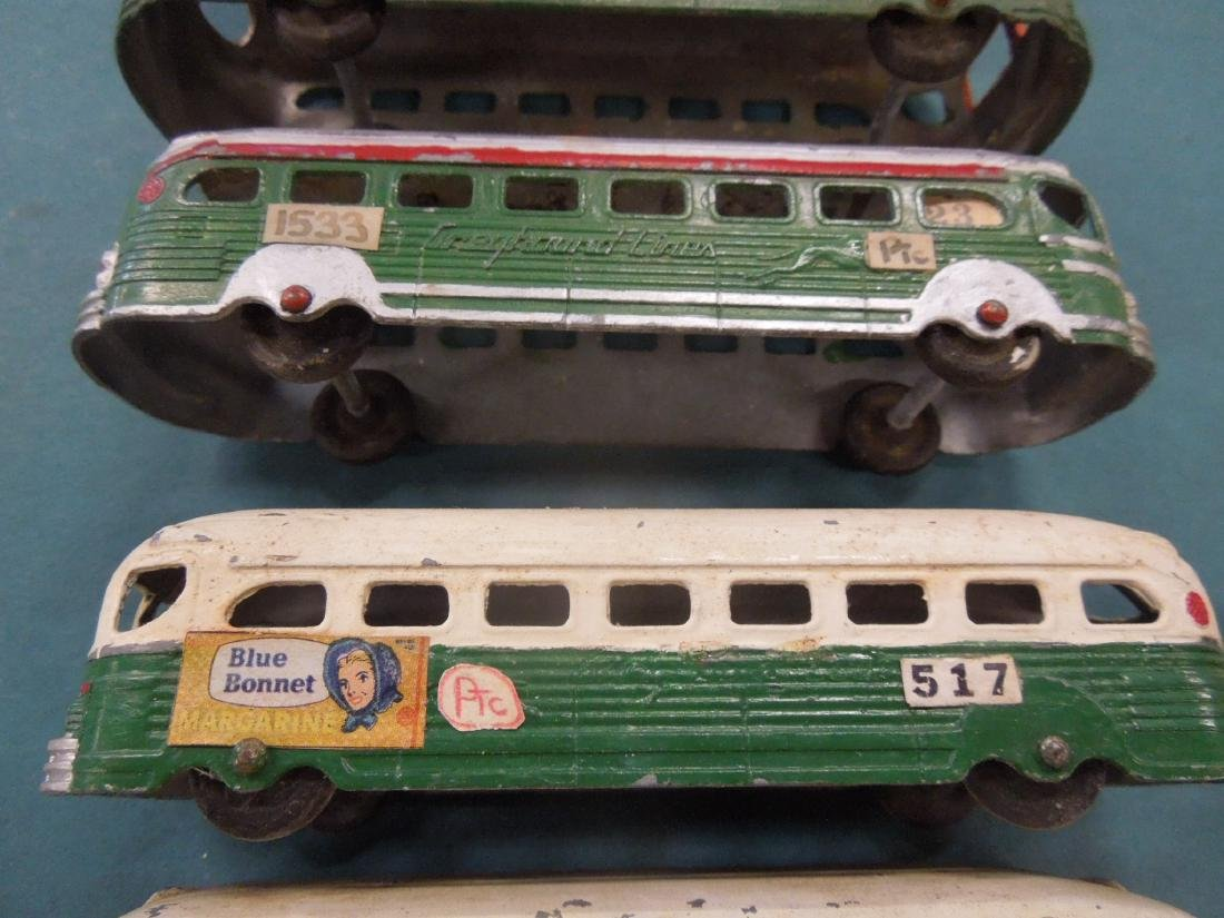 6 Vintage Tin Greyhound Buses - 3