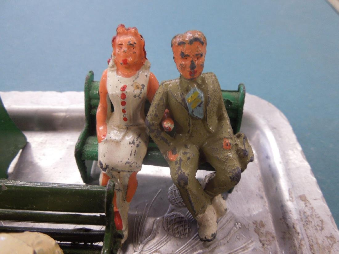 Sets Vintage Metal Figures on Benches - 3