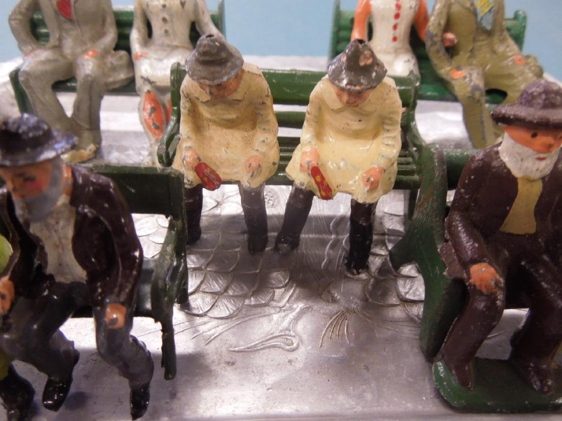 Sets Vintage Metal Figures on Benches - 4