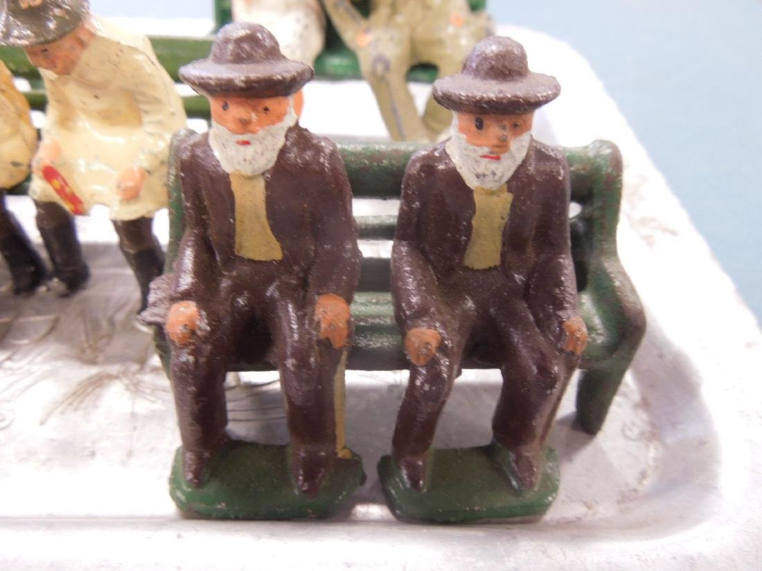 Sets Vintage Metal Figures on Benches - 5