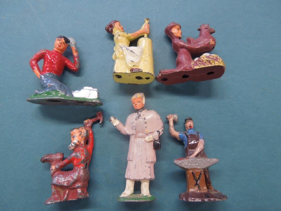 6 Vintage Metal Worker Figures