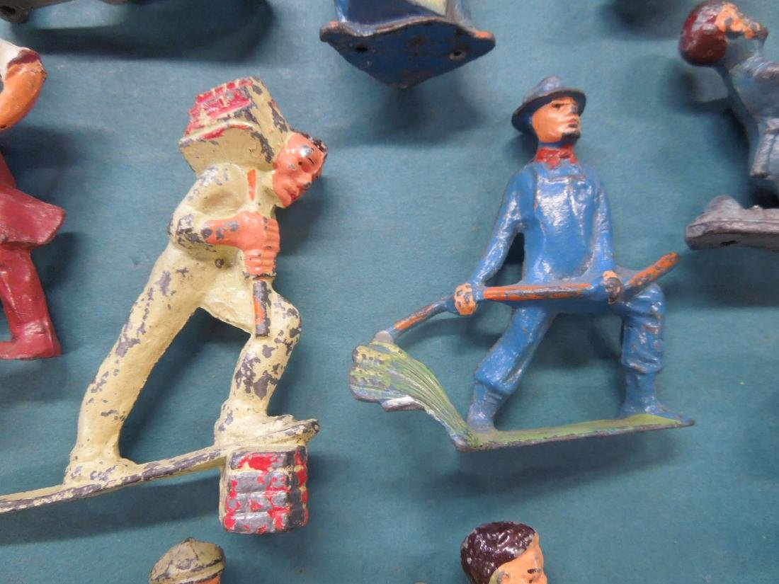 14 Vintage Manoil Metal Worker Figures - 4