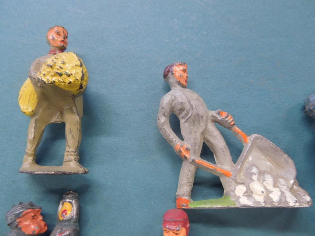 14 Vintage Manoil Metal Worker Figures - 6
