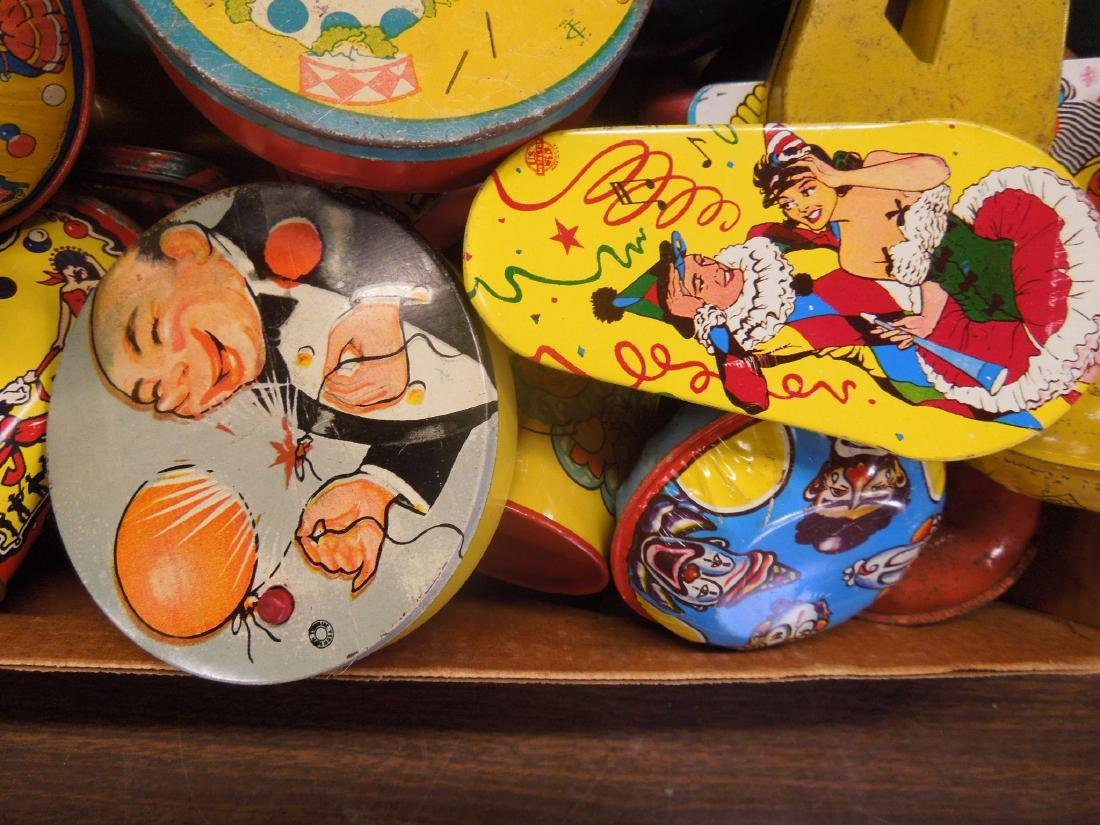 Large Lot Vintage Tin Litho Noise Makers - 2