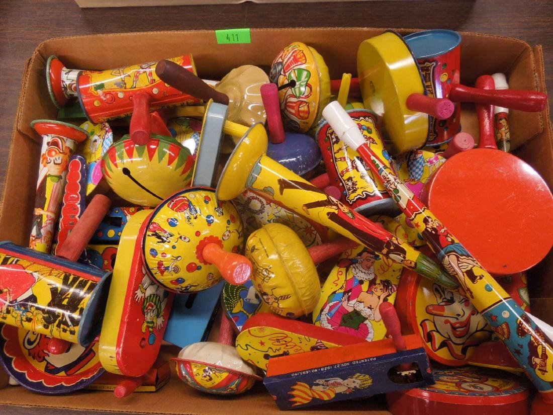 30+ Vintage Tin Litho Noisemakers