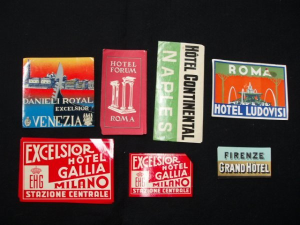 1019: 1940's-60's hotel luggage labels