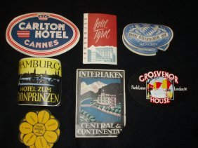 1021: 1940's-60's hotel luggage labels