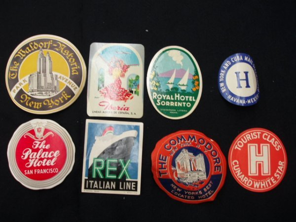 1023: 1940's-60's hotel luggage labels