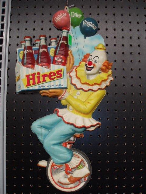 1072: 1950's Hires Root Beer plastic sign