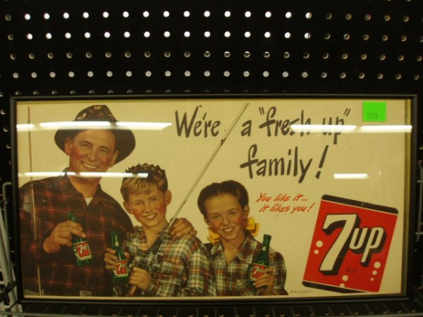 1075: 1940's 7 UP framed advertisement