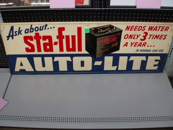 1077: 1950's STA-FUL Auto-Lite Battery sign