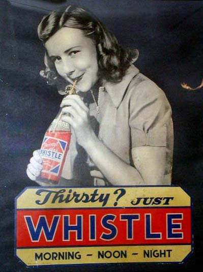 1086: 1940's Whistle Soda display sign