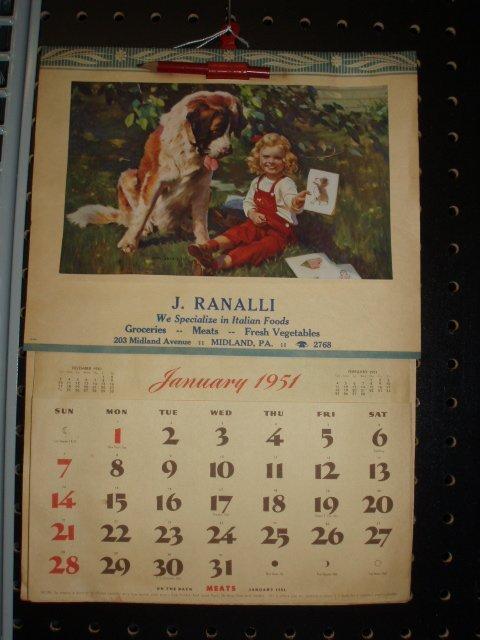 1090: 1951 J. Ranalli advertising calendar