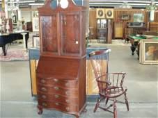 2037: Chippendale style Secretary Desk & Windsor Arm Ch