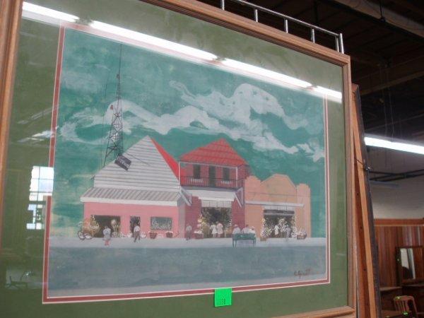 """2038: E. Arnett, signed, gouache, """"Tarpon Springs"""""""
