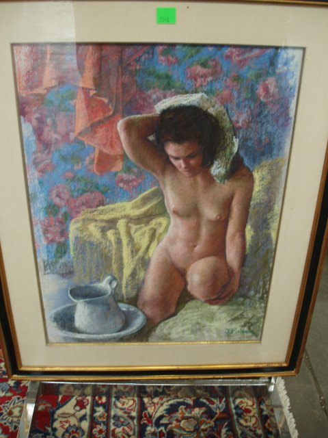 """2040: Jason B. Fishbein, pastel, """"Nude with Pitcher"""""""