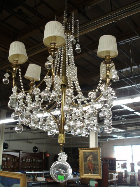 2050: Contemporary crystal & brass Chandelier