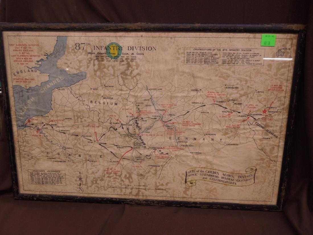 Framed WW II 87th Infantry Map