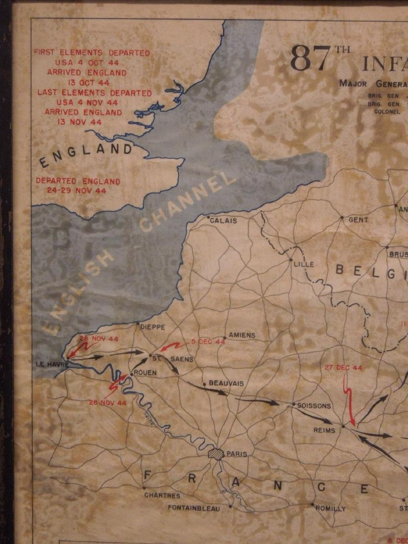 Framed WW II 87th Infantry Map - 3