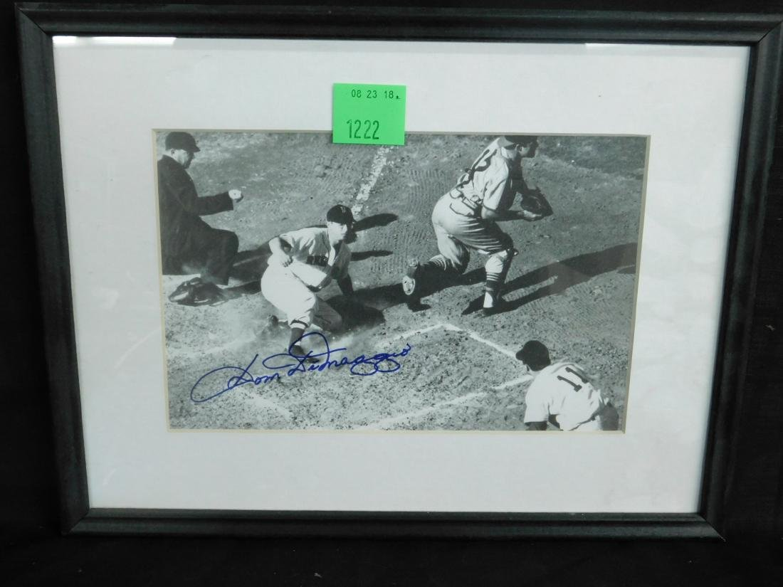 Framed Autographed Photo Dom DiMaggio