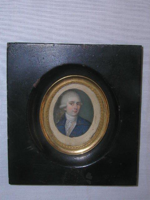 3023: 18th C. miniature portrait watercolor