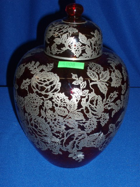 4008: Ruby glass ginger jar