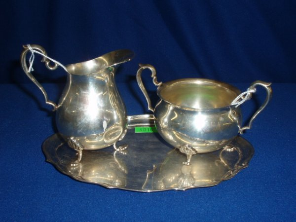4016: Sterling creamer & sugar with tray