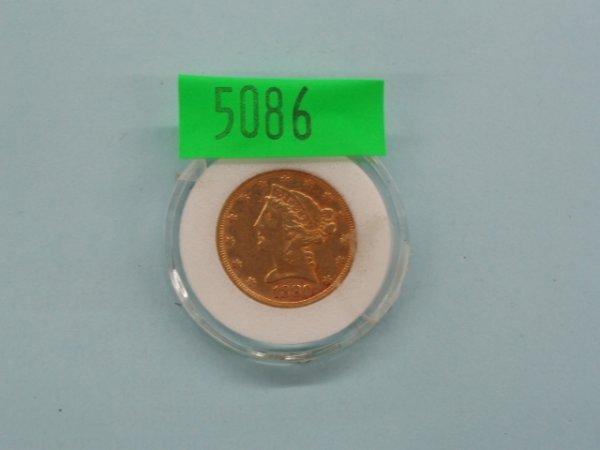 5086: 1880 U.S. $5 gold coin
