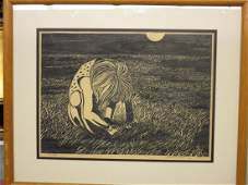 George Ivers Woodblock Child in Field