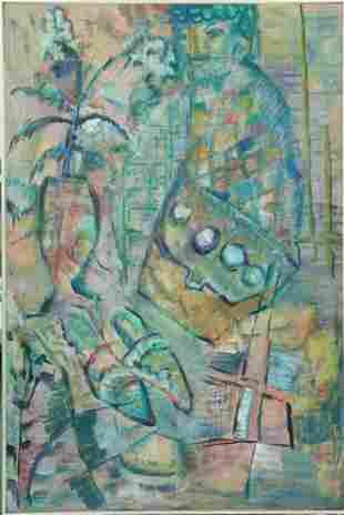 Dox Thrash o/c Abstract Still Life w/Figure